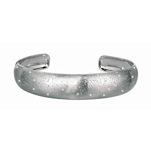 En argent rhodié rond à effet poli Bracelet Bracelet Stardust