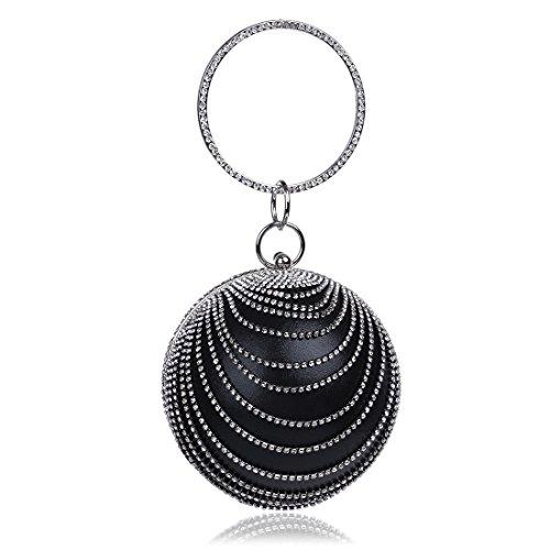 Black de de embrayage partie détachable rondes bleu soirée strass chaîne rouge argent luxe Pochettes noir dames or et réglable 48qU4d