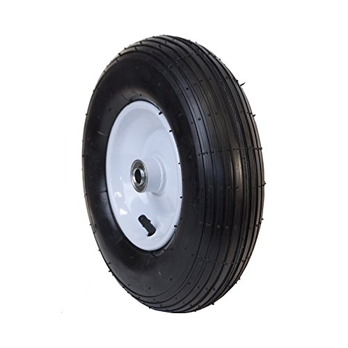 ALEKO WBAP13 Ribbed Pneumatic Replacement Wheel for Wheelbarrow Welded Rim Air Filled Turf Tire 13 Inches Black White Rim (Ribbed Pneumatic)