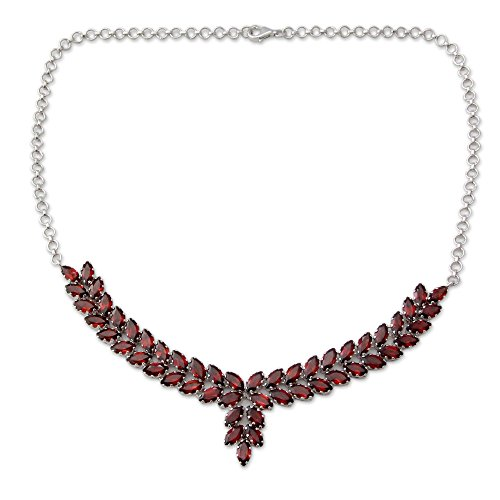 NOVICA Garnet Rhodium Plated .925 Sterling Silver Pendant Necklace, 17.75
