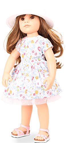 "Gotz Hannah Summertime - 19.5"" All Vinyl Poseable Brunette Doll with Hair to Wash & Style, Brown Eyes, Sunhat, Sunglasses & Sandals"