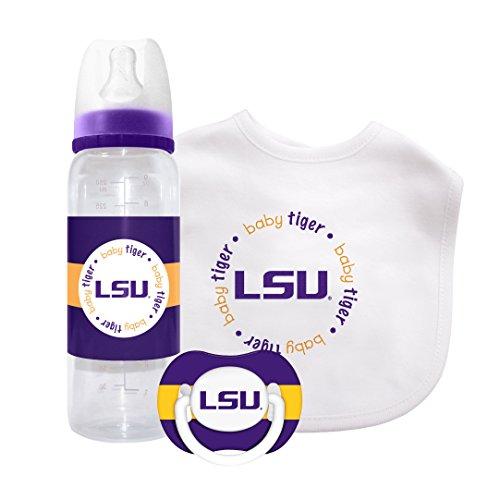 NCAA LSU Tigers 3-Piece Pacifier, Bib & Bottle Gift (Lsu Tigers Gift Set)