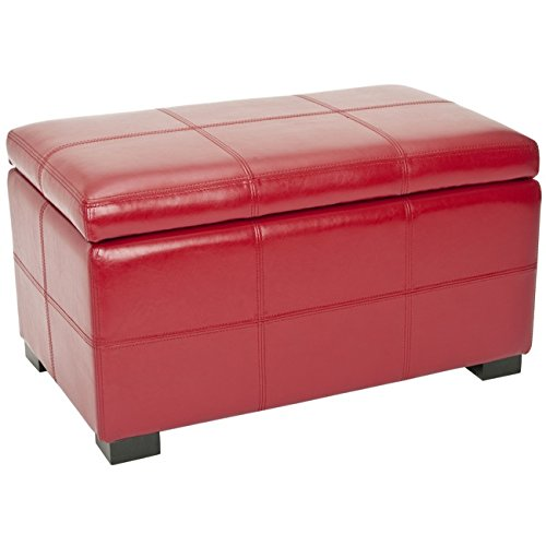 Safavieh Hudson Collection Williamsburg Red Leather Small Storage Bench Outdoor Benches
