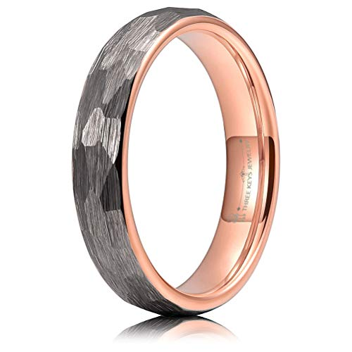 (THREE KEYS JEWELRY 4mm Hammered Irregular Diamond-Shaped Brushed Silver Tungsten Wedding Ring with Rose Gold Interior Engagement Band Domed Size 10.5)