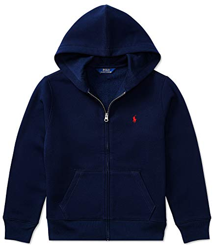 POLO RALPH LAUREN Boy's Fleece Signature Embroidered Pony Hoodie; Navy (Small, 8)