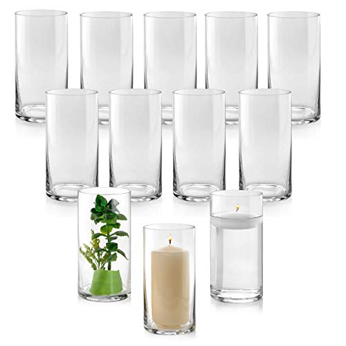 Set of 12 Glass Cylinder Vases 8 Inch Tall - Multi-use: Pillar Candle, Floating Candles Holders or Flower Vase - Perfect as a Wedding Centerpieces. (Floating Glass Vase)
