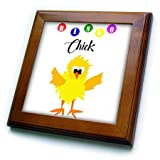 3dRose All Smiles Art Sports and Hobbies - Funny Bingo Chick Playing Bingo Cartoon - 8x8 Framed Tile (ft_288050_1)