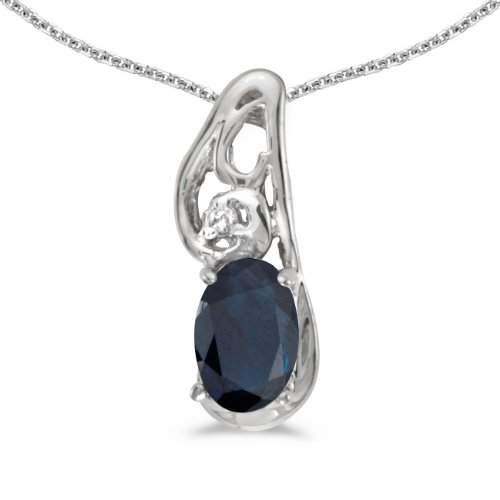 This 14k white gold oval sapphire and diamond pendant features a 6x4 mm genuine natural sapphire with a 0.39 ct total weight. by sendmyjewelry