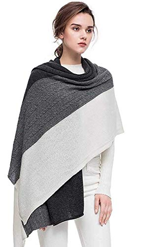 Knit Wool Wrap - Ladies Gift Cashmere Scarf Fashion Warm Extra large Wool Wrap Shawl Winter Stole for Women(Grey)