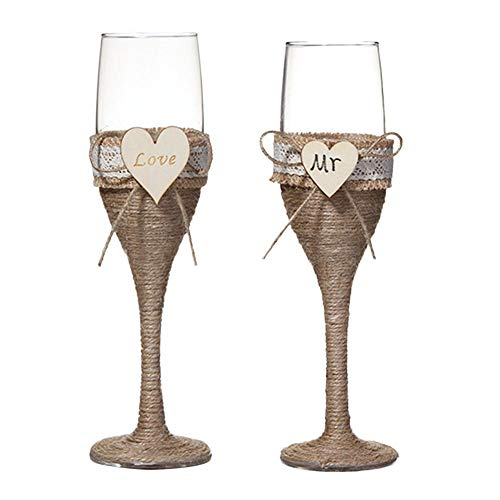 Wedding Wine Glass Double Heart Goblet Banquet Cup Bride Groom Toasting 2pcs / 1 Pair Premium Wine Cups For Weddings & Events