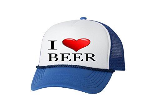 (Funny Trucker Hat I Love Beer Baseball Cap Retro Vintage Joke Heart Alcohol Drinking (Blue))