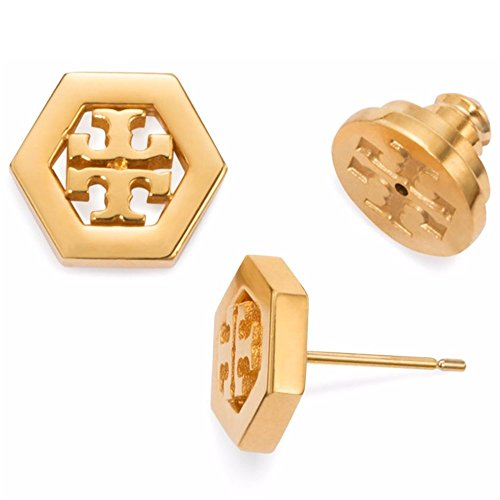 Tory Burch Hex-Logo Stud Earrings 16k Gold With Dust - Rings Burch Tory