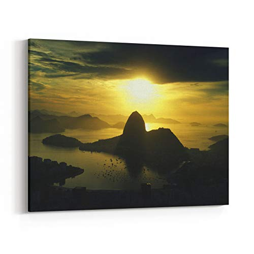 Rosenberry Rooms Canvas Wall Art Prints - Scenic Rio De Janeiro Brazil Golden Sunrise Over Guanabara Bay with A Skyline Silhouette of Sugarloaf Mountain (30 x 24 inches)