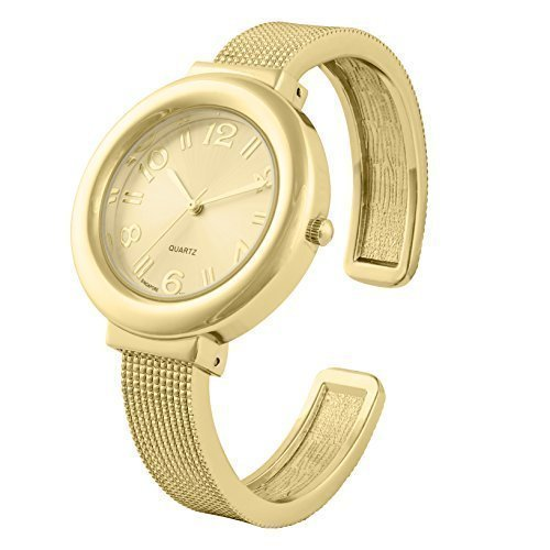 Mesh Like Ladies Bangle/Cuff Watch with Beautiful Sunray Dial and Singapore Movement by Geneva