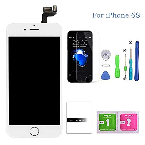Compatible for iPhone 6s Screen Replacement White,LCD Display & Touch Screen Digitizer Replacement + Home Button+Front Camera+Earpiece Pre-Assembled +Screen Protector Free Repair Tools(4.7)
