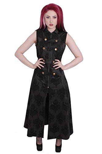 Kiara Noir Flock sleevless Epaulette robe