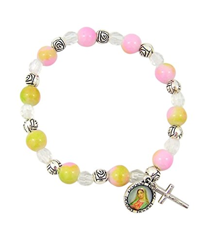 Girls Rose Bead Confirmation Rosary Bracelet with Madonna Charm by Needzo Inc, 7 1/2 Inch