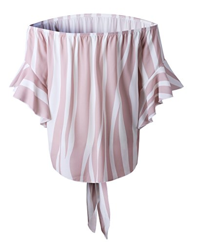 Maniche Estivo Bende Bluse Shirt Rosa Irregolare Donna Barca Maglietta Righe Tops Casual a a Moda Scollo Campana Smalltile T Sexy Camicie Chiffon con a Zpqdpw