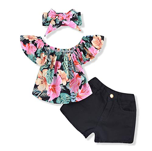 - Toddler Infant Baby Girl Shorts Set Floral Ruffle Off Shoulder Tops Jeans/Denim Shorts Summer Outfits Clothing Set (Black +Green, 18-24 Months)