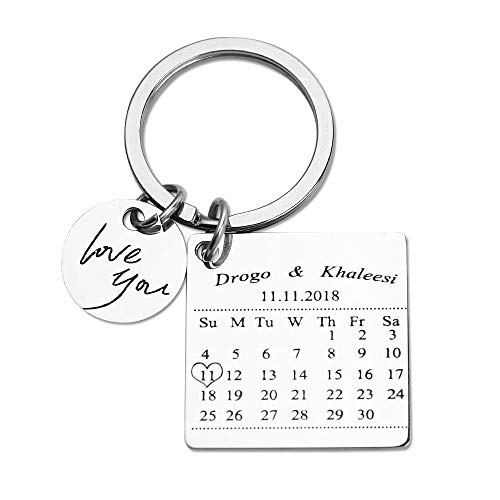 Personalized Special Date Calendar Keychain - Customized Stainless Steel Key Chain with Date and Name Carving, Creative Gifts for Lover -
