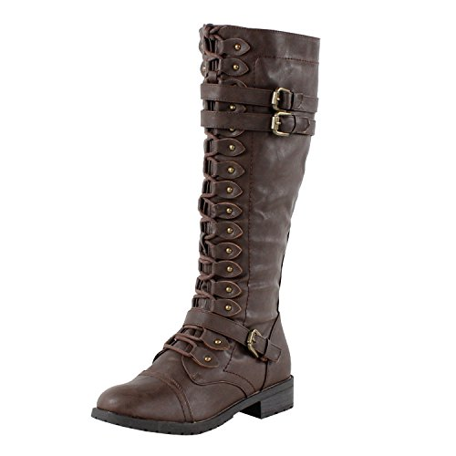Wild Diva Women's Fashion Timberly-65 Military Knee High Combat Boots Shoes Brown sz 8]()