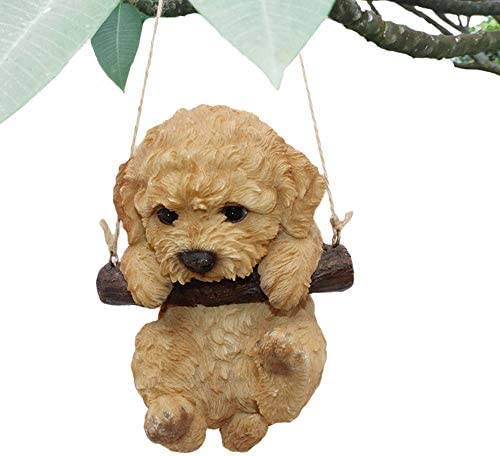CITONG Cute Dog Statues Decorative Yard Hanging Swing Puppy Sculpture Orange