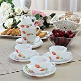 SICO Scarlet Duet Glass Cup and Saucer, Multicolour - Set of 12