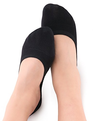 Vero Monte 4 Pairs Women Middle Profile No Show Socks (Black, 8-10) 450425