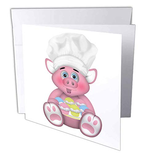 (3dRose Anne Marie Baugh - Illustrations - Cute Pink Baking Chef Pig with A Plate of Cupcakes Illustration - 1 Greeting Card with Envelope (gc_317939_5))