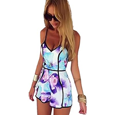 Vovotrade Hot Sale Women Jumpsuit V-Neck Playsuit Fashion Floral Print Rompers Casual Bodysuit Sexy Clothes