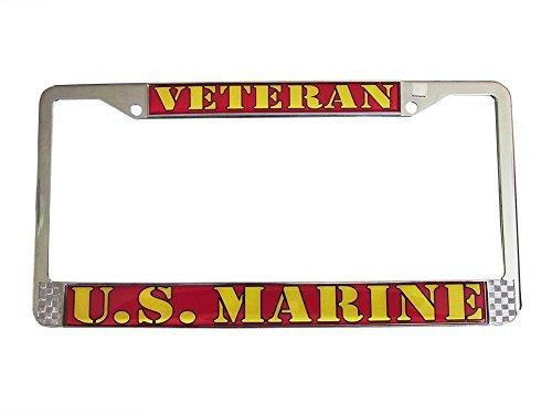 U.S. MARINE VETERAN Auto License Plate Chrome Frame USMC Made in the USA