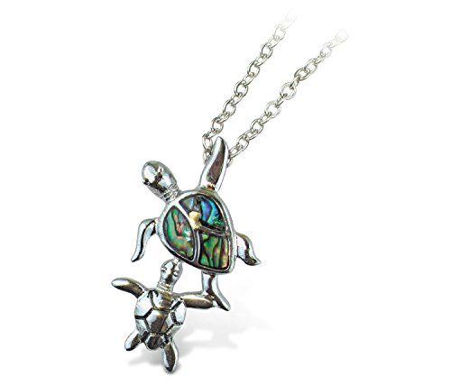 Puzzled Multi-Colored Aqua Sea Turtle Necklace, 18 Inch Fashionable Elegant Silver Chain Jewelry with Genuine New Zealand Paua Shell Pendant Ocean Marine Sea Life Beach Themed Fashion Neck - Shell Paua New Necklace Zealand