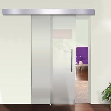Serina - Puerta corredera (para interiores, cristal y aluminio satinado, 205 x 77,5 cm, 8 mm de grosor): Amazon.es: Bricolaje y herramientas