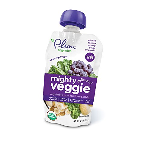 Plum Organics Mighty Veggie, Organic Toddler Food, Spinach, Banana, Parsnip, Grape & Amaranth, 4 ounce pouch (Pack of 12)