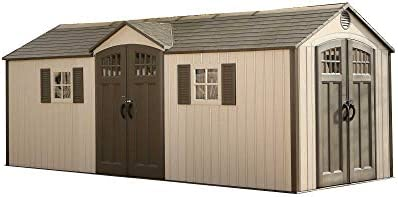 LIFETIME 60127 20 x 8 Ft. Outdoor Storage Shed, Desert Sand