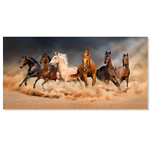 (Inzlove Famous Running Horse Canvas Painting Print Modern African Landscape Wild Animal Art Gallery Wrapped for Bedroom Wall Decor (Framed 24x48 inch))