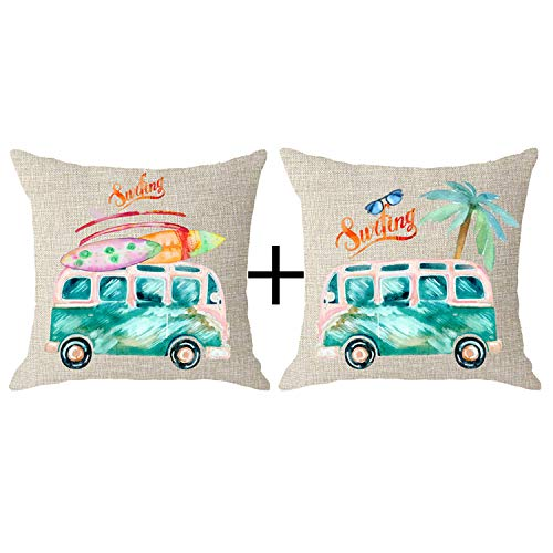 NIDITW Set of 2 Spring Holiday Camping Gift Watercolor Bus Surfboard Tropical Palm Tree Glasses Body Cream Burlap Throw Pillow Cover Cushion Shell Sofa Decorative Square 18x18 Inches