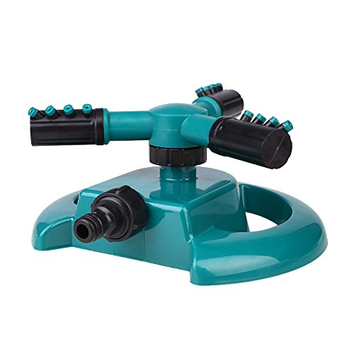 Springdoit 360 Degree Automatic Rotating Nozzle Large Three Fork Sprinkler Nozzle Garden Lawn Watering Equipment