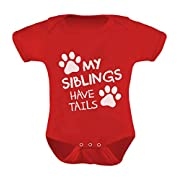 Tstars TeeStars - My Siblings Have Tails Funny One-Piece Infant Baby Bodysuit Newborn Red