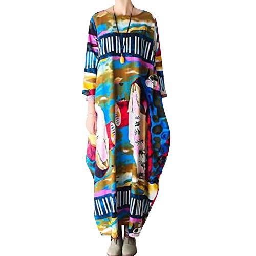 S-4XL Oversized Autumn Loose Maxi Dresses National Style Print Linen Robe...