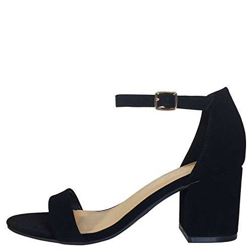 007248a09a Amazon.com | BAMBOO Women's Block Heel Sandal with Ankle Strap | Heeled  Sandals