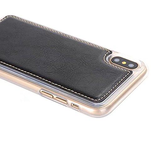 Funda desmontable 2 en 1 retro de la cartera de la bolsa de cuero de la PU con cremallera para iPhone X ( Color : Brown ) Black