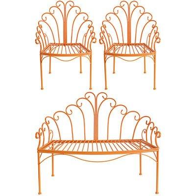 Cheap Wire Child's Love Seat & Chair Set Orange
