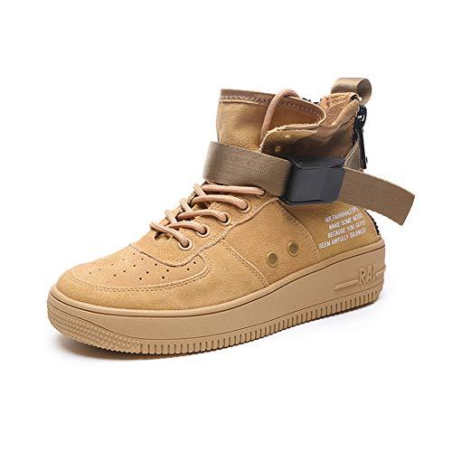IGXX Zapatillas de Deporte para Hombre, de Gamuza y Cordones, Zapatillas de Baloncesto para Mujer y niña, Caqui, 5 M US