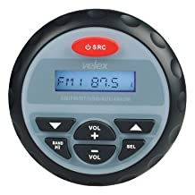 Marine Stereo by Velex, Gauge, Bluetooth, Digital Media MP3 / WMA / USB / AM/FM Weather-Proof Marine Stereo, (No CD Player)