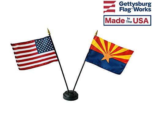 4x6 E-Gloss Arizona Stick Flag w/U.S. Stick Flag & 2 Flag Plastic Table Base - Qty 1