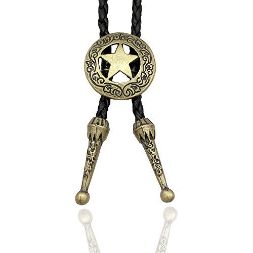 - Gold Plated Q&Q Fashion Western Southwest Men Texas Ranger Star Leather Rodeo Bolo Bola Tie Necktie