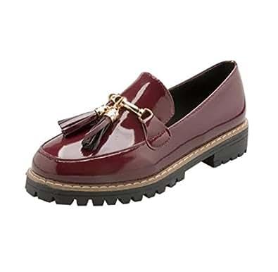 Holacha Mujer Zapato Oxford de Charol Cuero de Talón Plano con Borla (EU35=CN36, rojo)