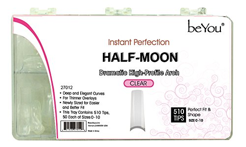beYou Clear Half-moon 500 Artificial Fake Nail Tips 11Sizes for Nail Salon Nail Shop (Clear 27012)