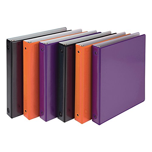 Samsill Two-Tone Colorful 3 Ring View Binders, 1 Inch Round Ring, Customizable Clear View Cover, Assorted Colors (Purple, Orange, Black), Bulk Binders - 6 Pack